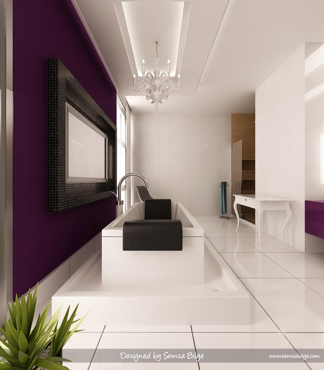 Black White Tile Bathroom Purple Accent Short