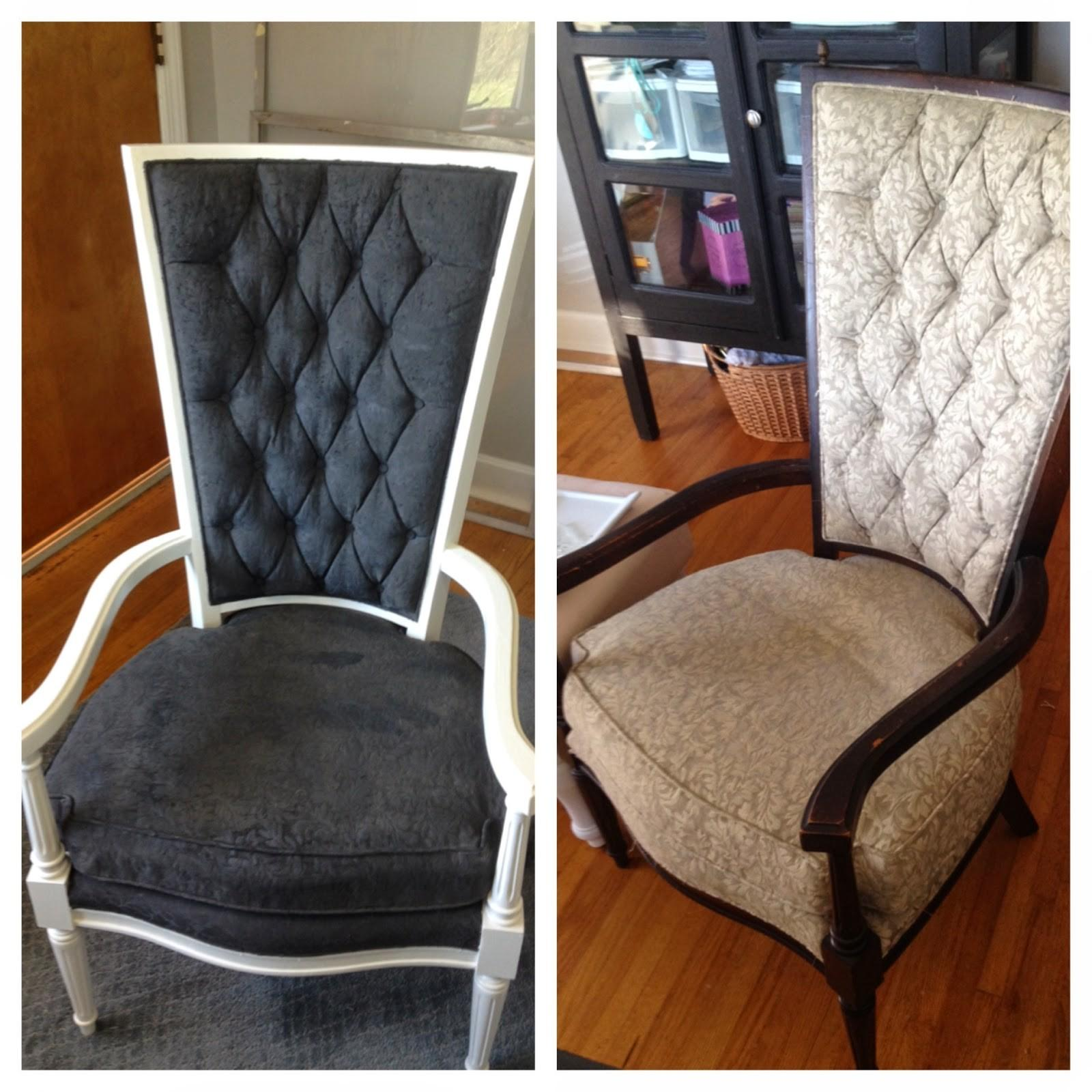 Blissfully Chic Diy Painted Chairs Painting Over Fabric