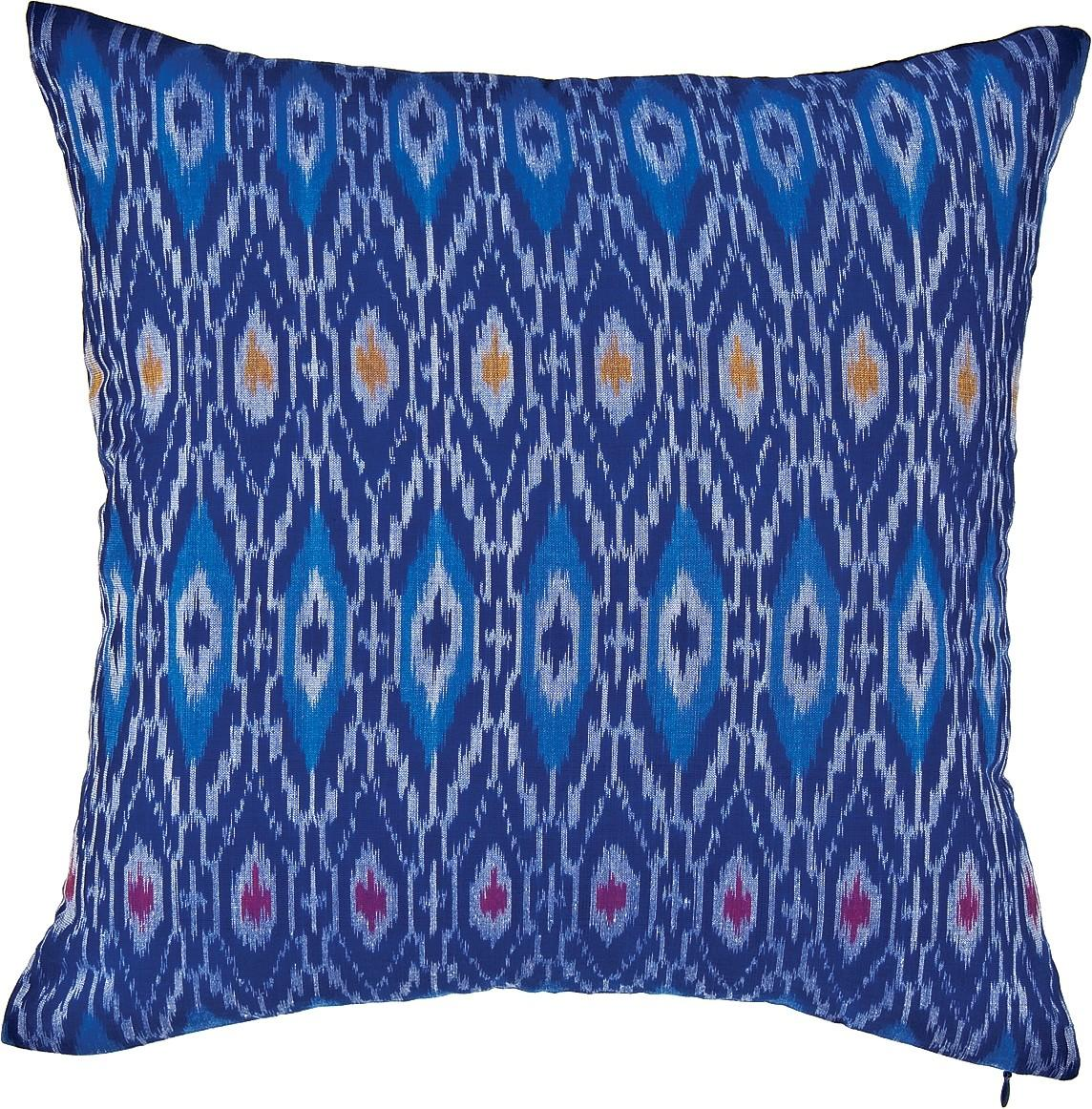 Blue Anusha Ikat Throw Pillow Luna Bazaar