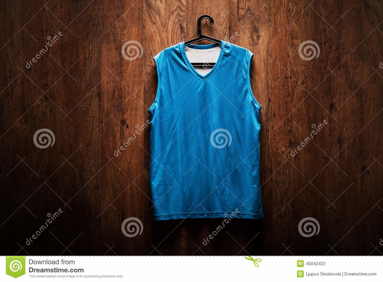 Blue Basketball Jersey Hanging Wooden Wall Stock