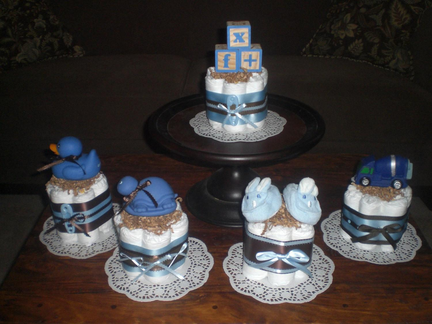 Blue Brown Baby Boy Shower Bearbottomdiapercakes
