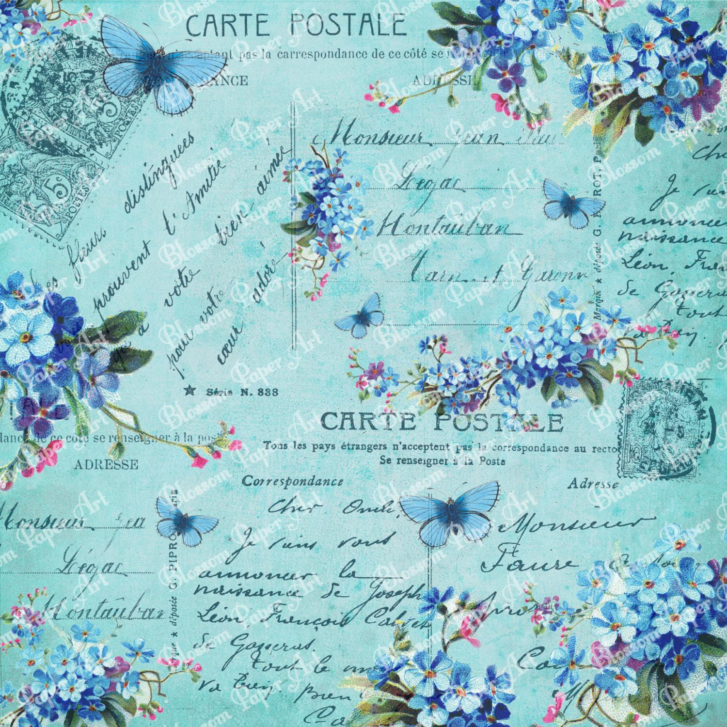 Blue Collage Sheet Vintage Flowers Scrapbooking