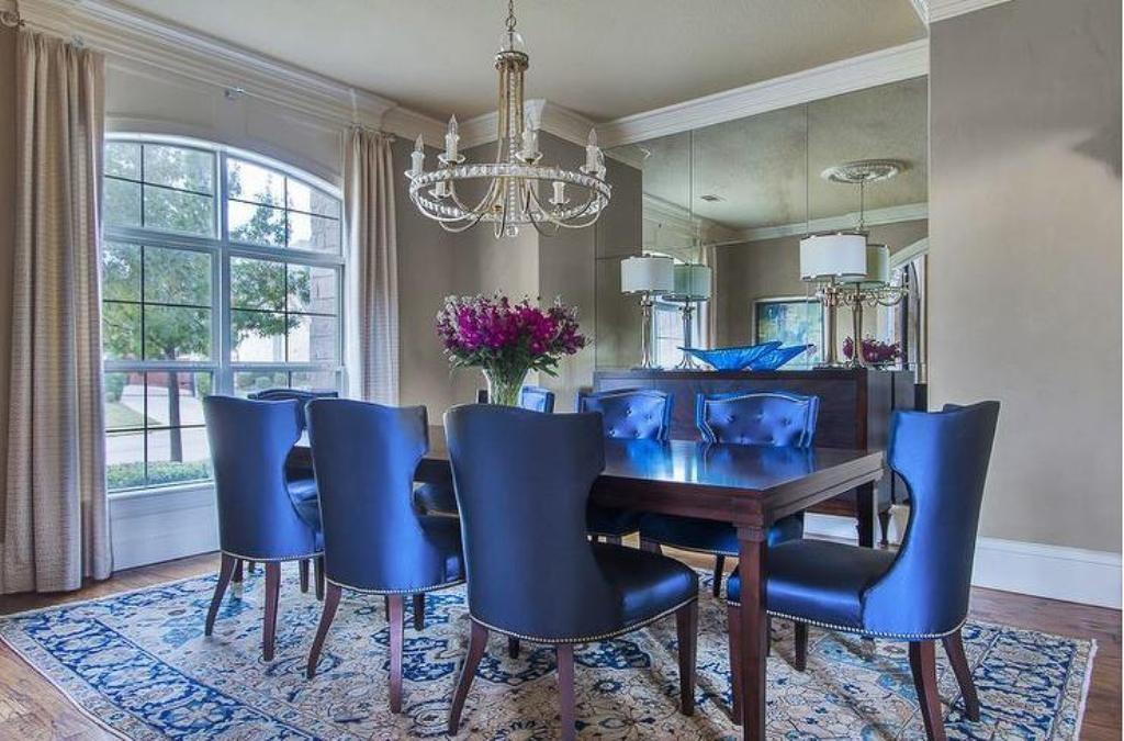 Blue Dining Room Chairs Upholstery Black Wood Decorspot