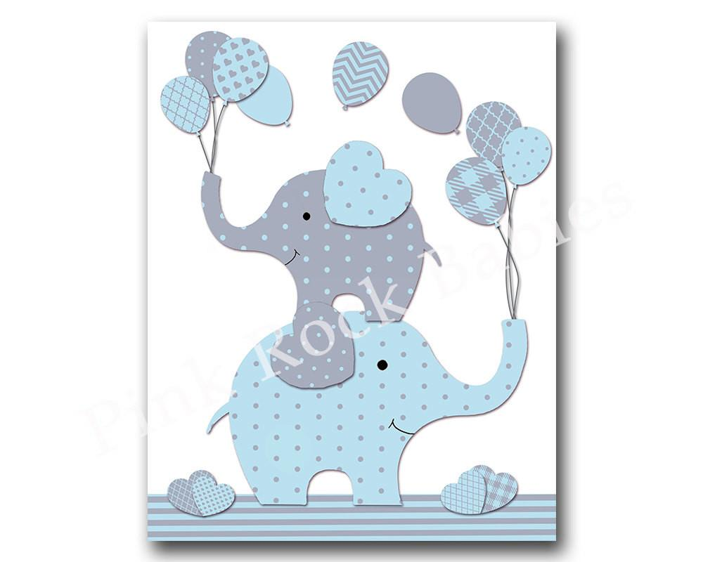 Blue Elephant Nursery Wall Art Baby Boy