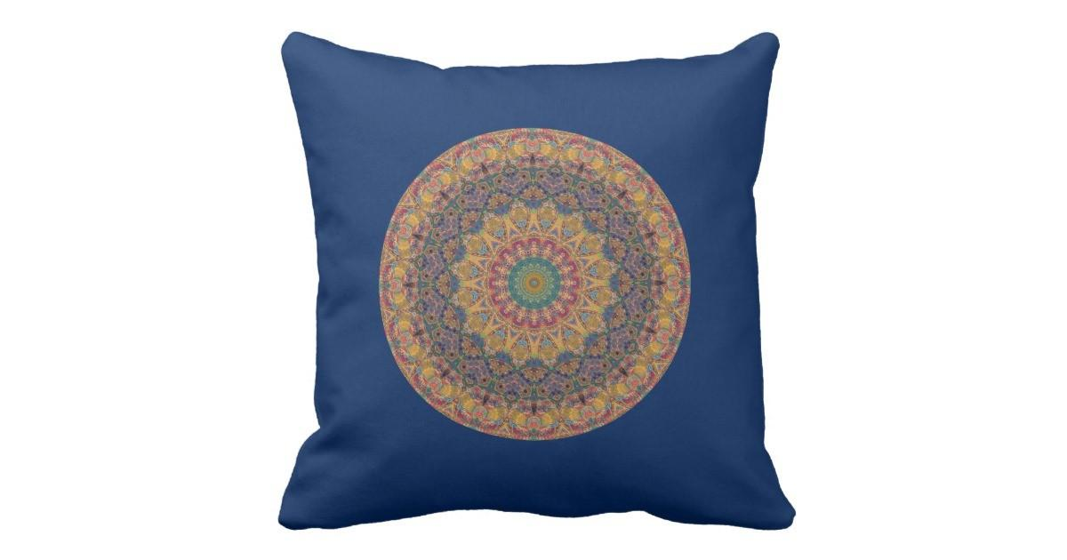 Blue Gold Red Tapestry Mandala Kaleidoscope Pillow
