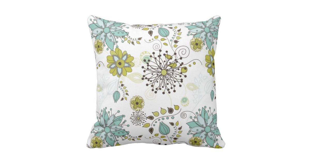 Blue Green Spring Floral Pattern Throw Pillow Zazzle