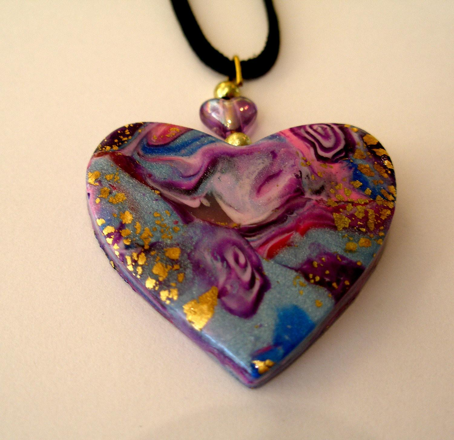 Blue Heart Pendant Polymer Clay Hand Made