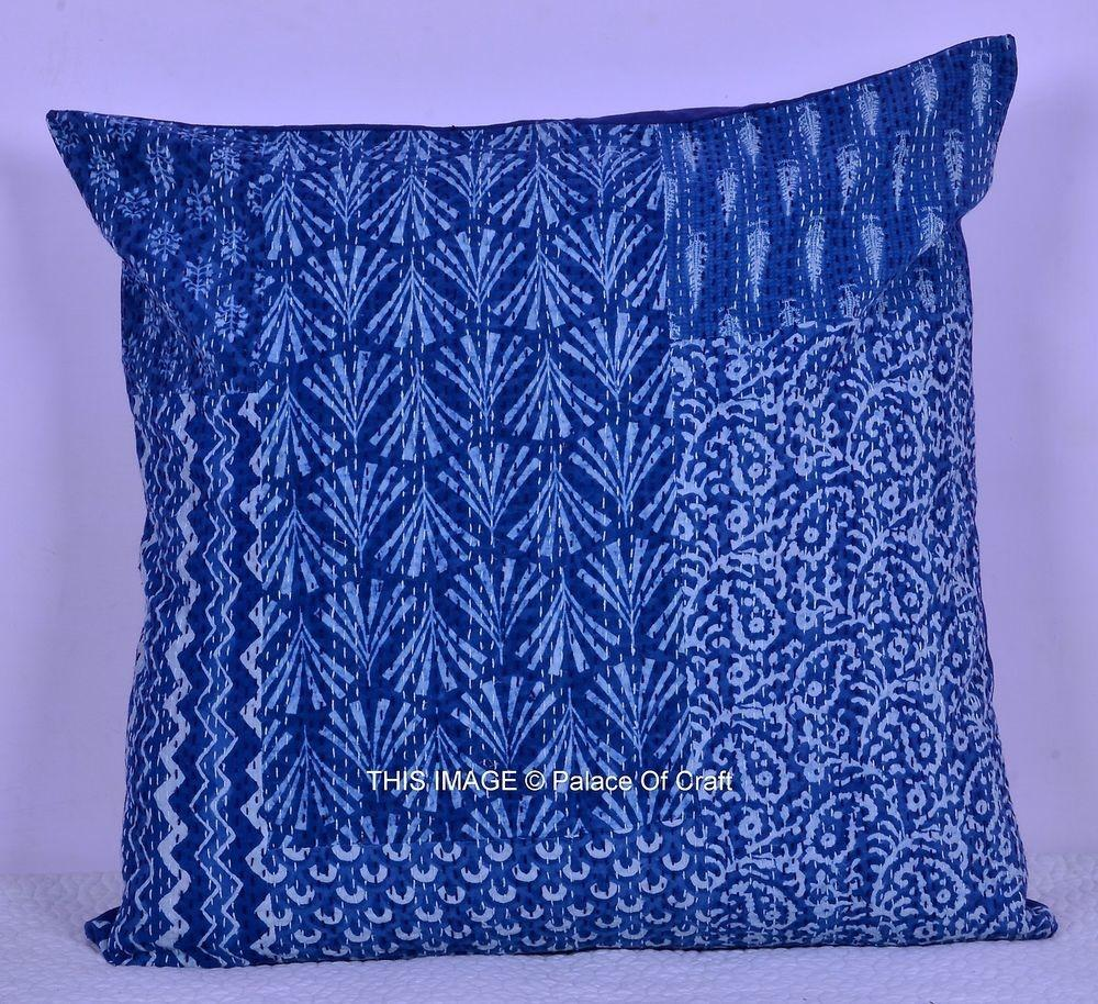 Blue Ikat Indian Kantha Cushion Cover Ethnic Handmade