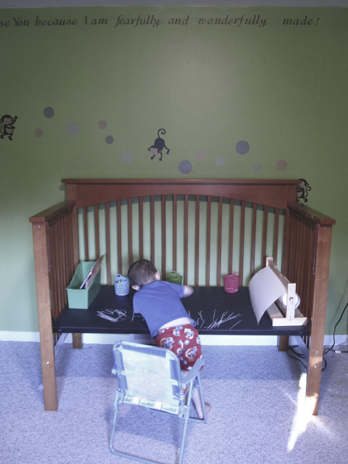 Blue Ladybug Mamas Repurposed Crib Chalkboard Art Table