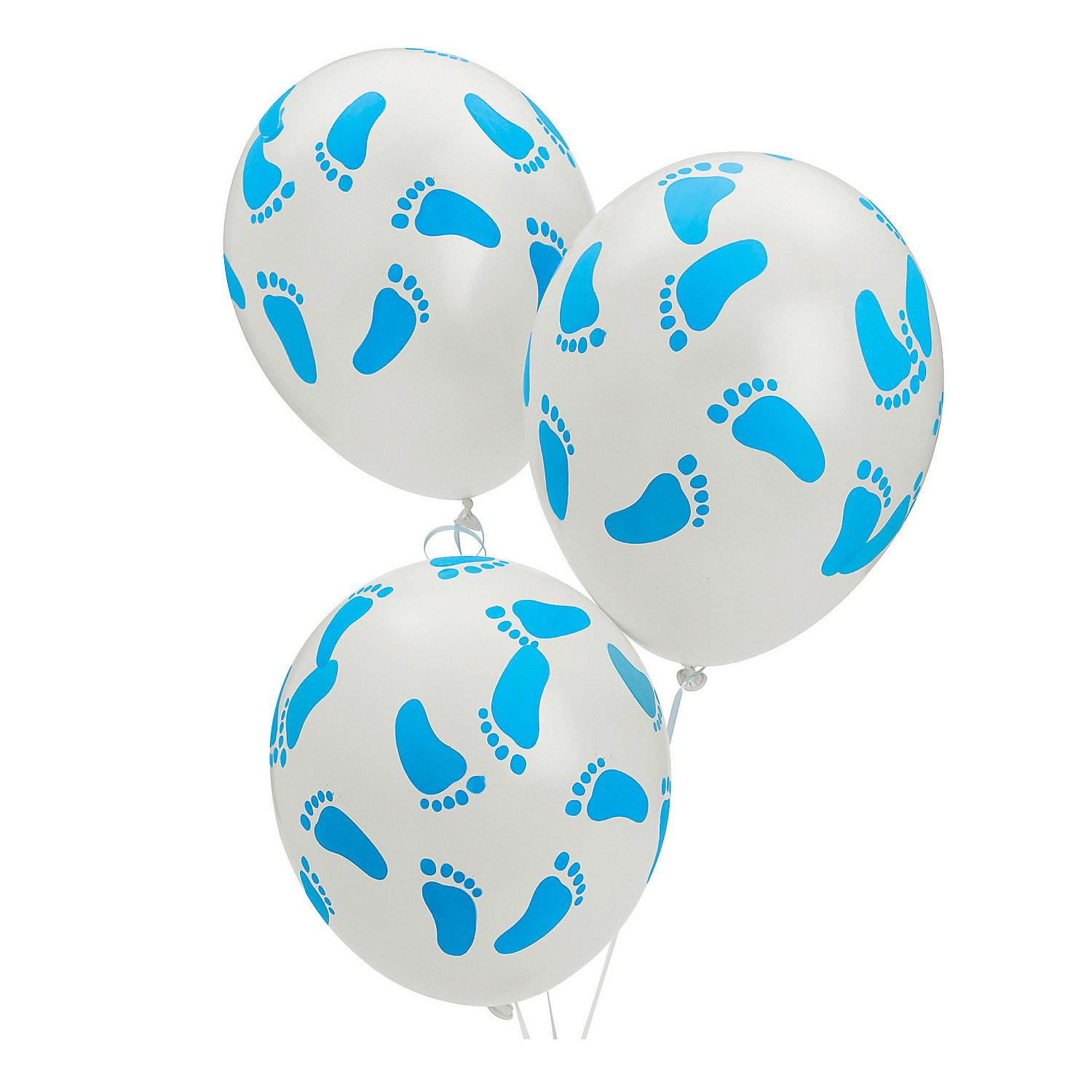 Blue Latex Baby Footprints Balloons Oriental Trading
