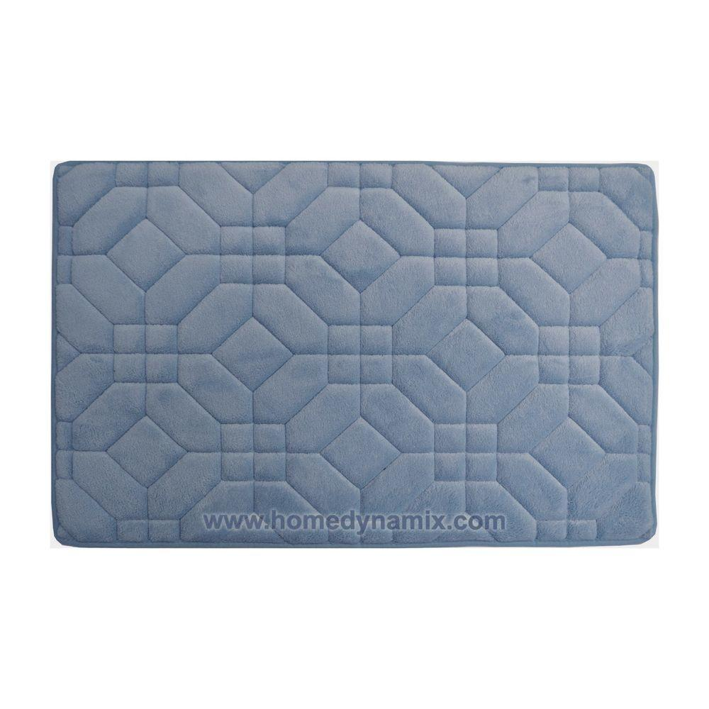 Blue Memory Foam Bathroom Mat Rug Day Spa Tiles Design