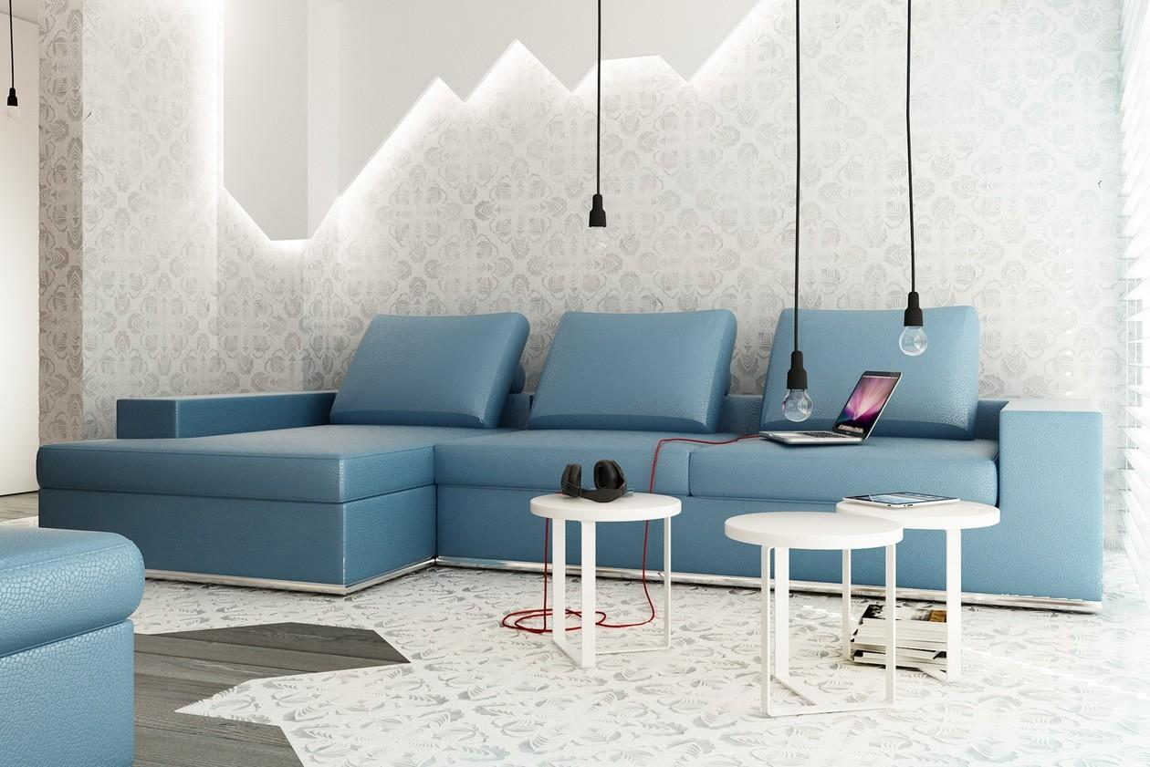 Blue Shaped Sofa Exposed Bulb Lighting Feature