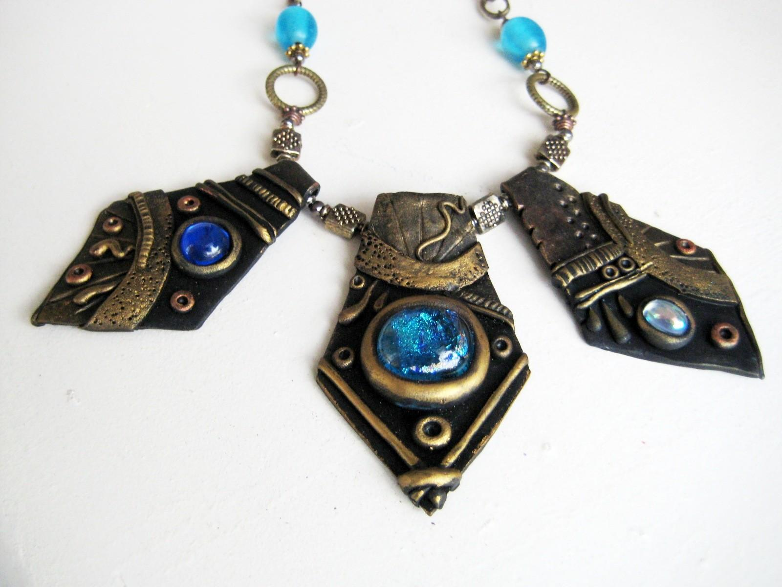 Blue Stone Gold Polymer Clay Necklace Royalkitness