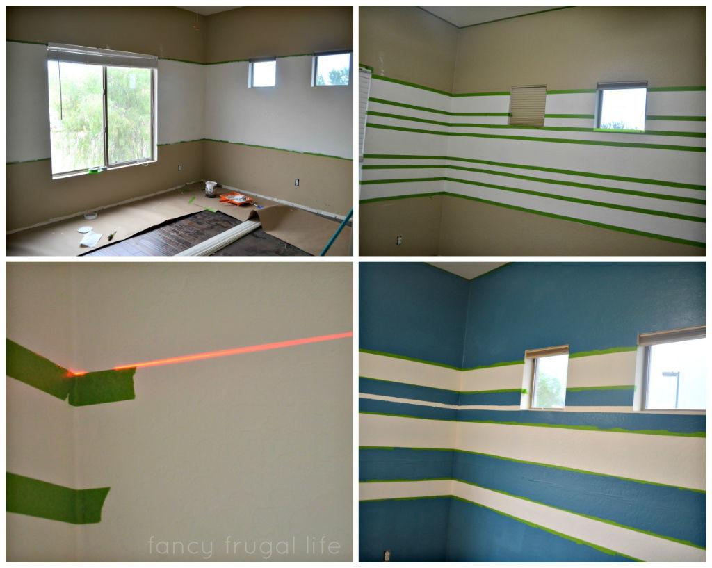Blue Striped Painted Walls