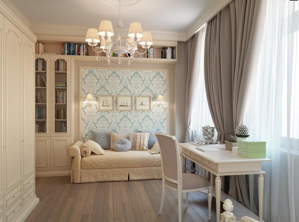 Blue Taupe Brown Curtains Bedroom Interior