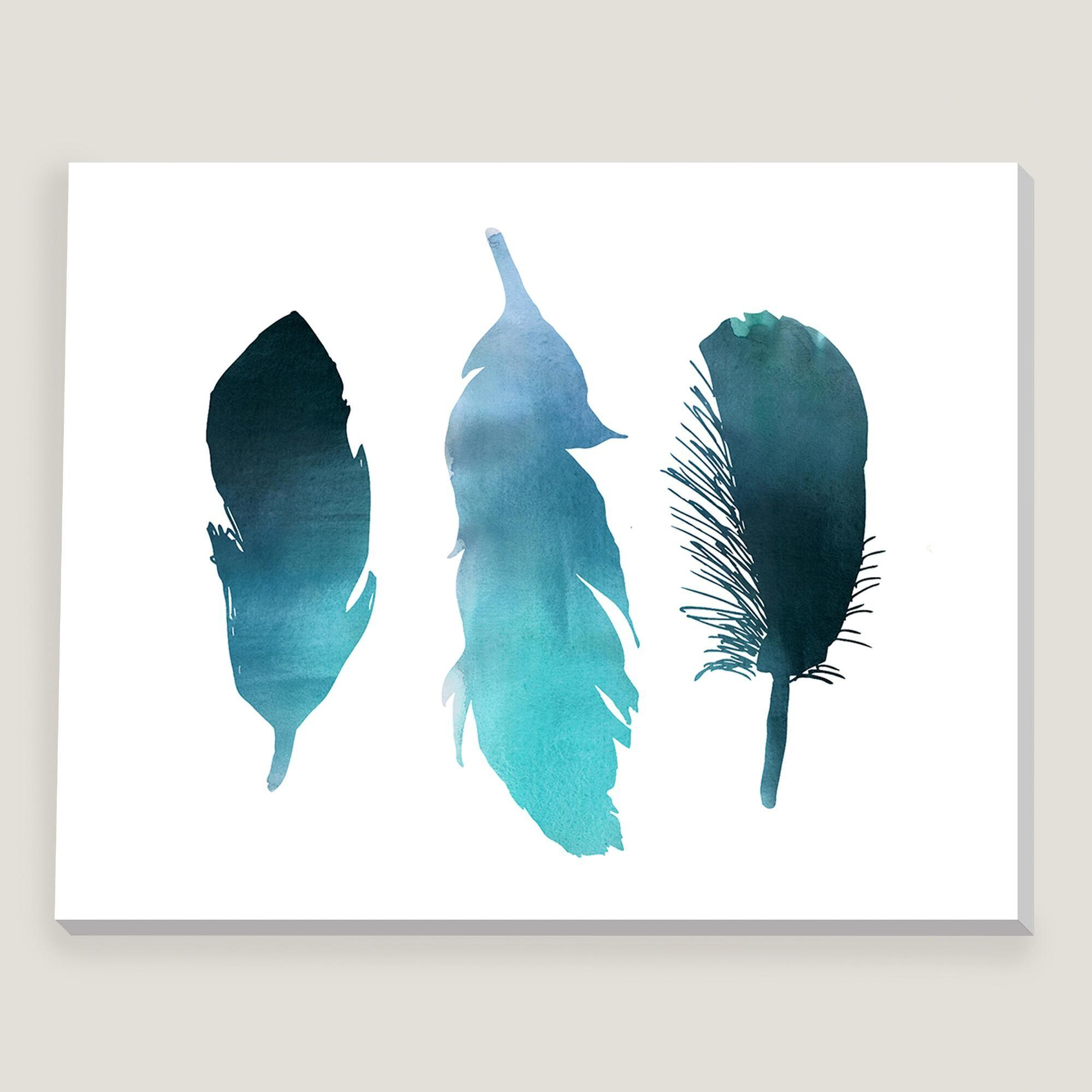 Blue Turquoise Watercolor Bird Feather Wall Art World Market