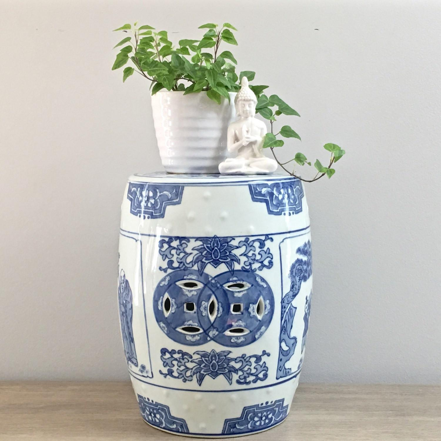 Blue White Asian Garden Stool Home Outdoor Decoration