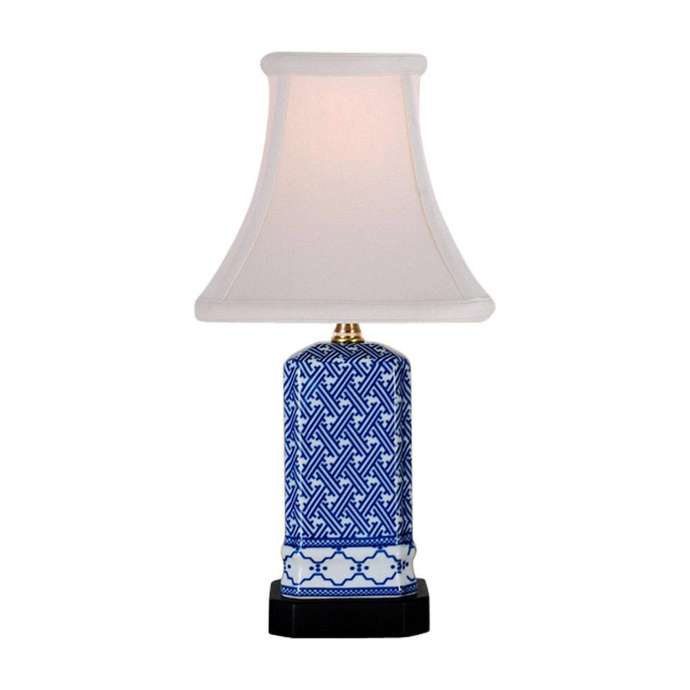 Blue White Geometric Square Porcelain Vase Table Lamp