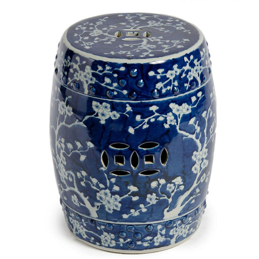 Blue White Plum Chinese Garden Stool Ceramic End Table