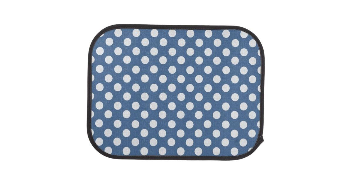 Blue White Polka Dot Car Mat Set Zazzle