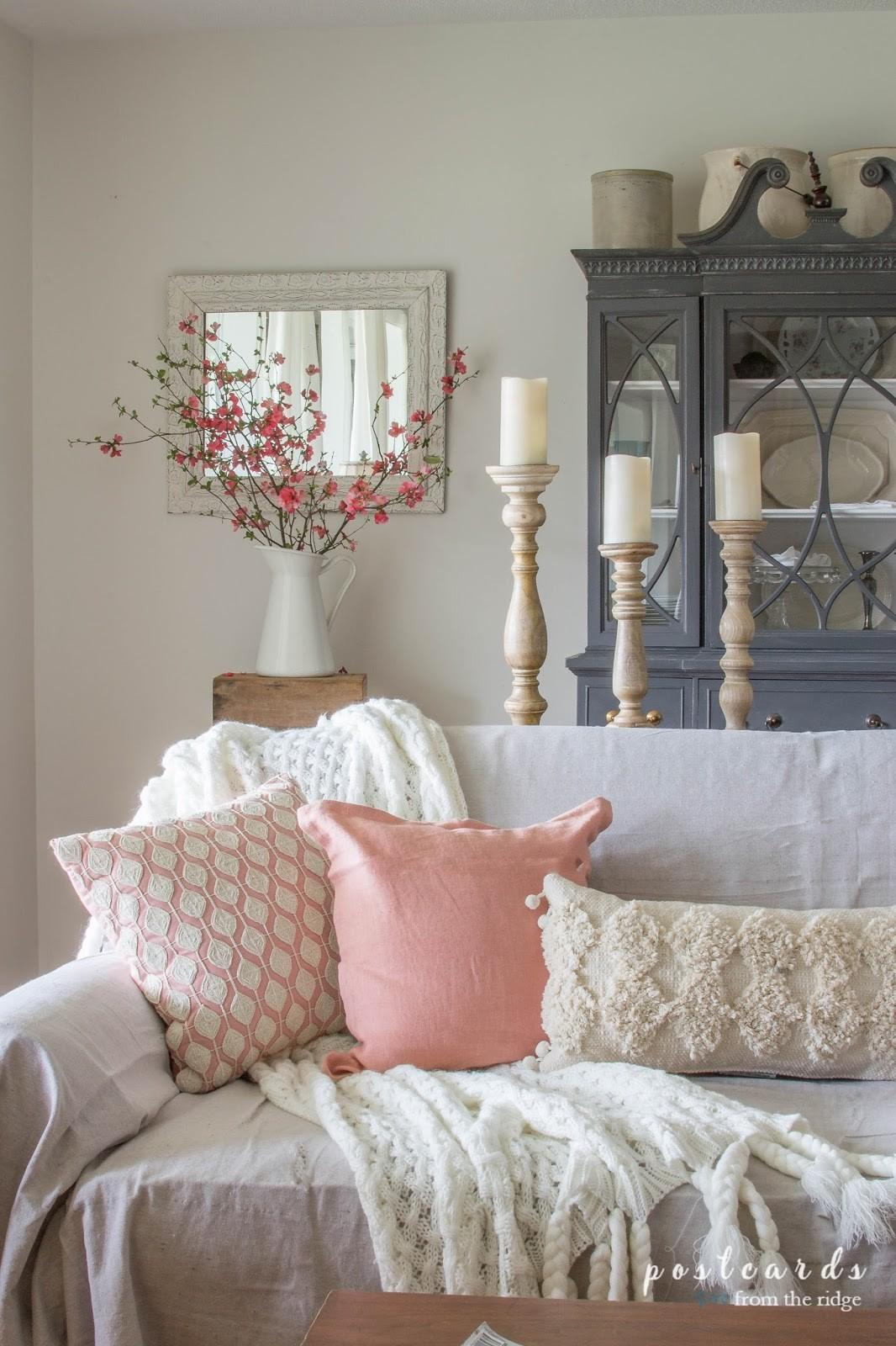 Blush Bashful Spring Accents Living Room