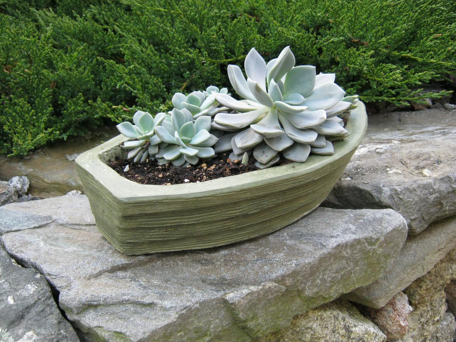 Boat Planter Concrete Green Plant Pot Flower