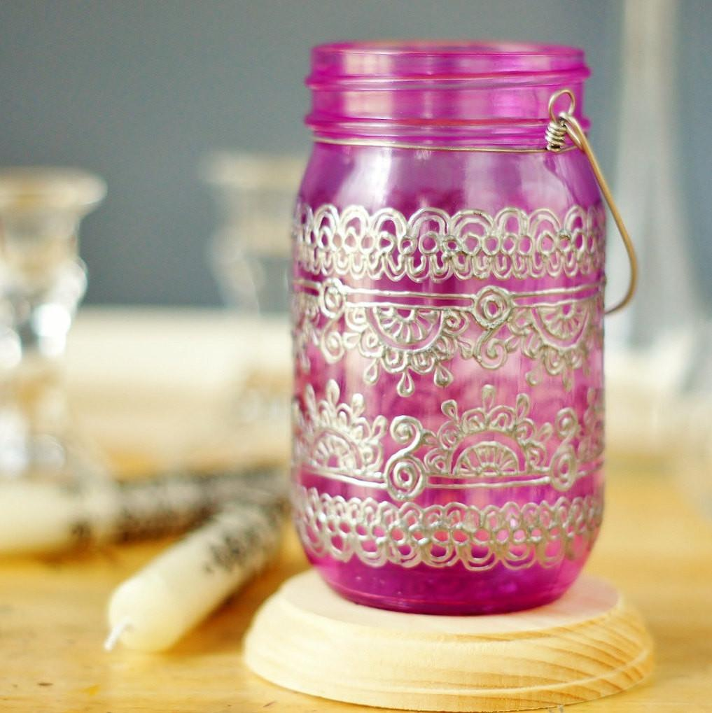 Bohemian Home Decor Mason Jar Lantern Moroccan Inspired
