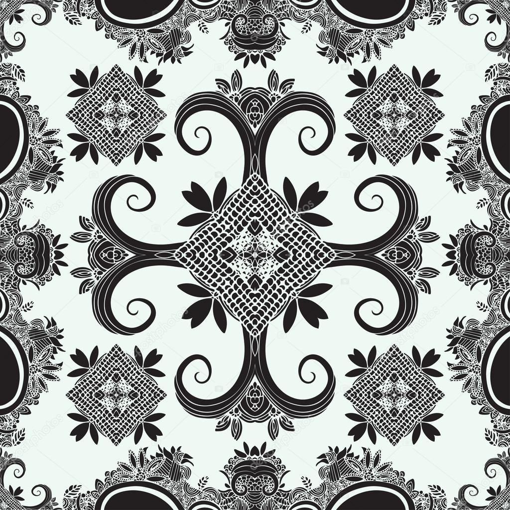 Boho Ornament Texture Monochrome Abstract Floral Plant