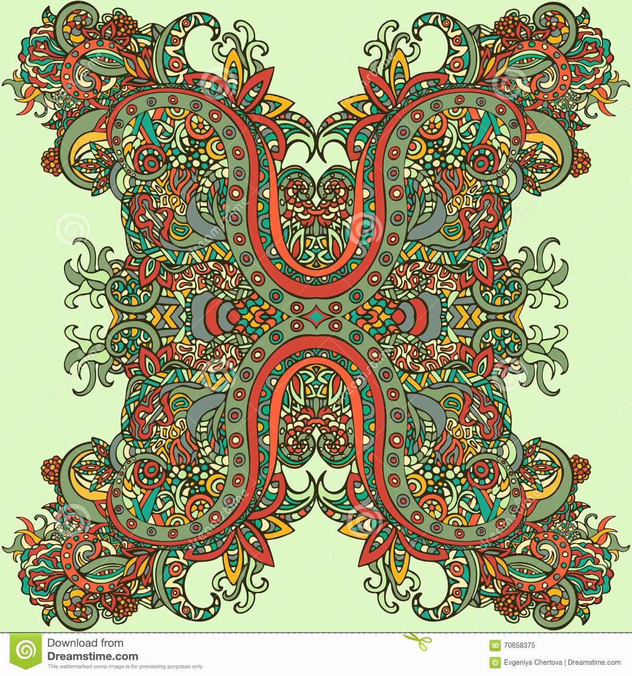 Boho Style Ethnic Ornament Abstract Floral Plant Natural