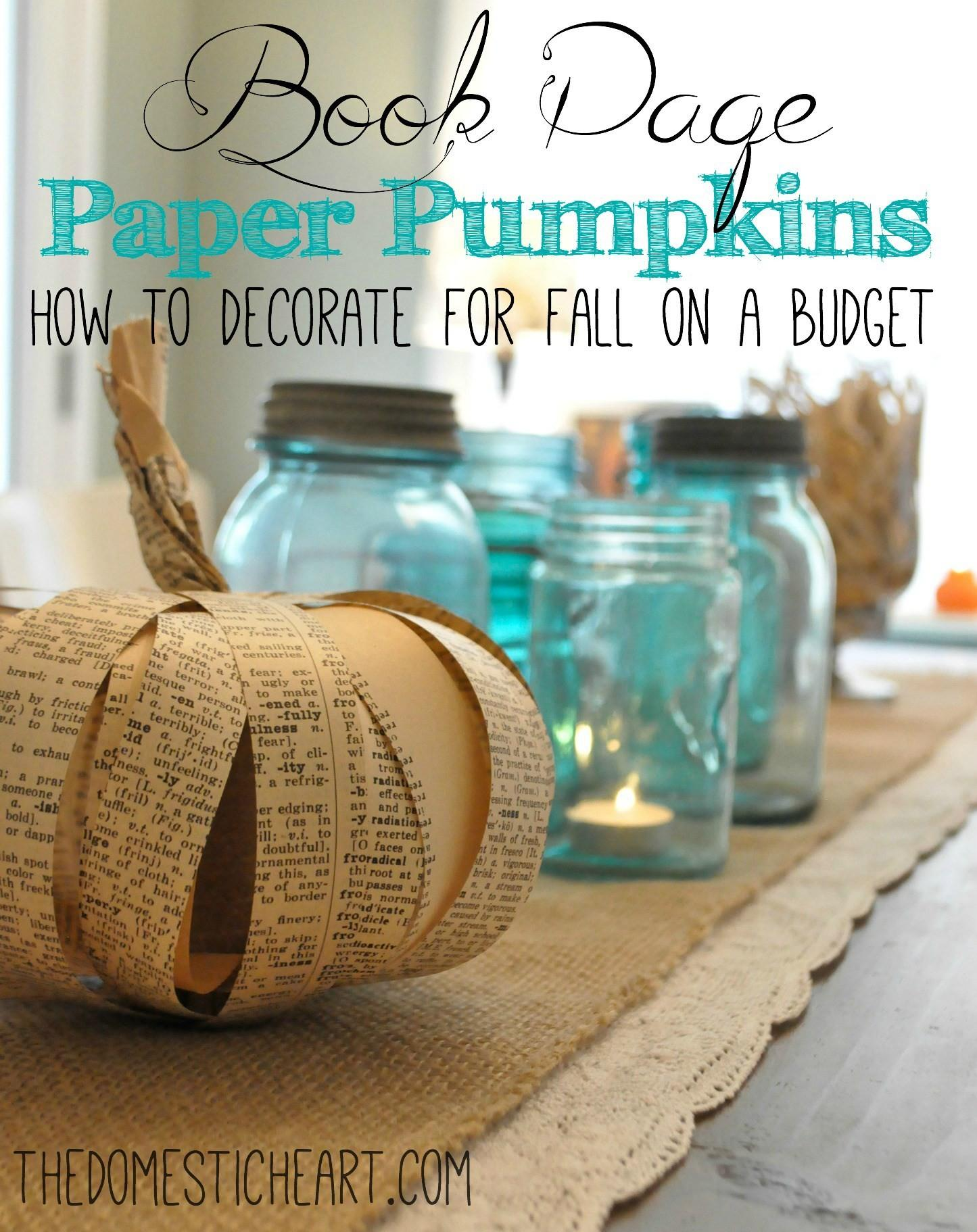 Book Paper Pumpkin Decorate Fall Budget