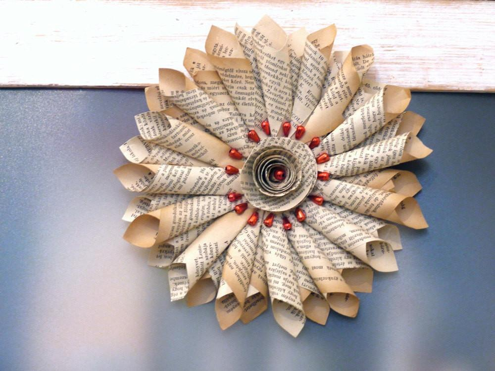 Book Star Vintage Paper Wreath Upcycled