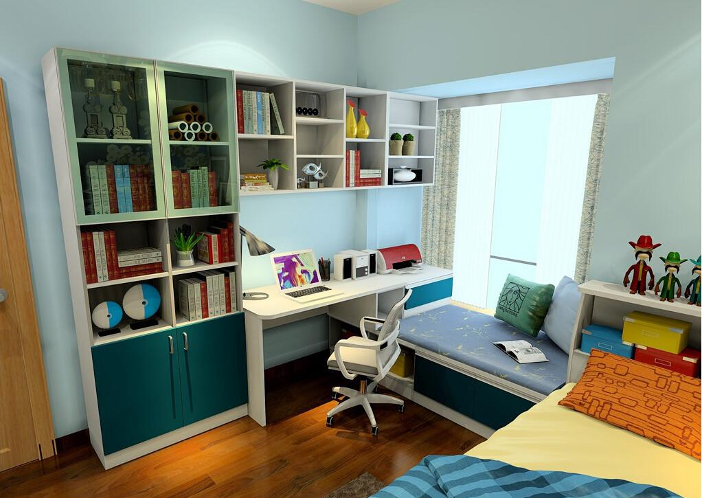 Bookcase Desk Windowsill Modern Bedroom