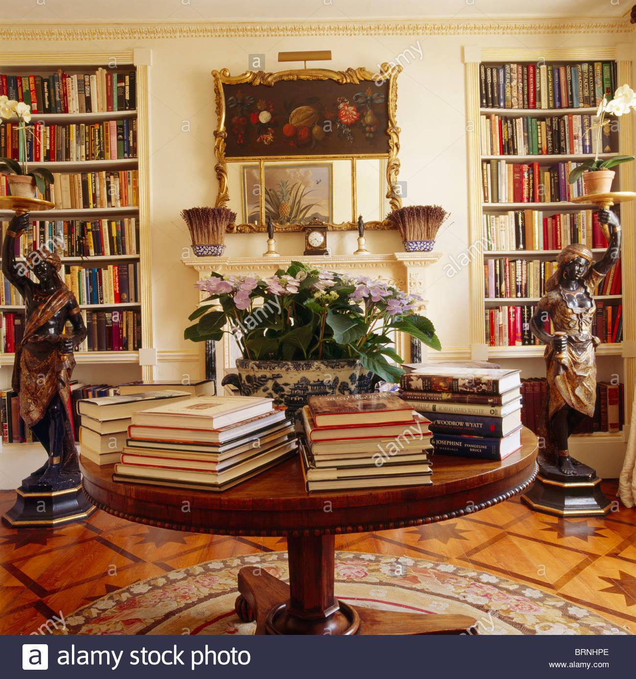Books Piles Circular Antique Table Library Dining