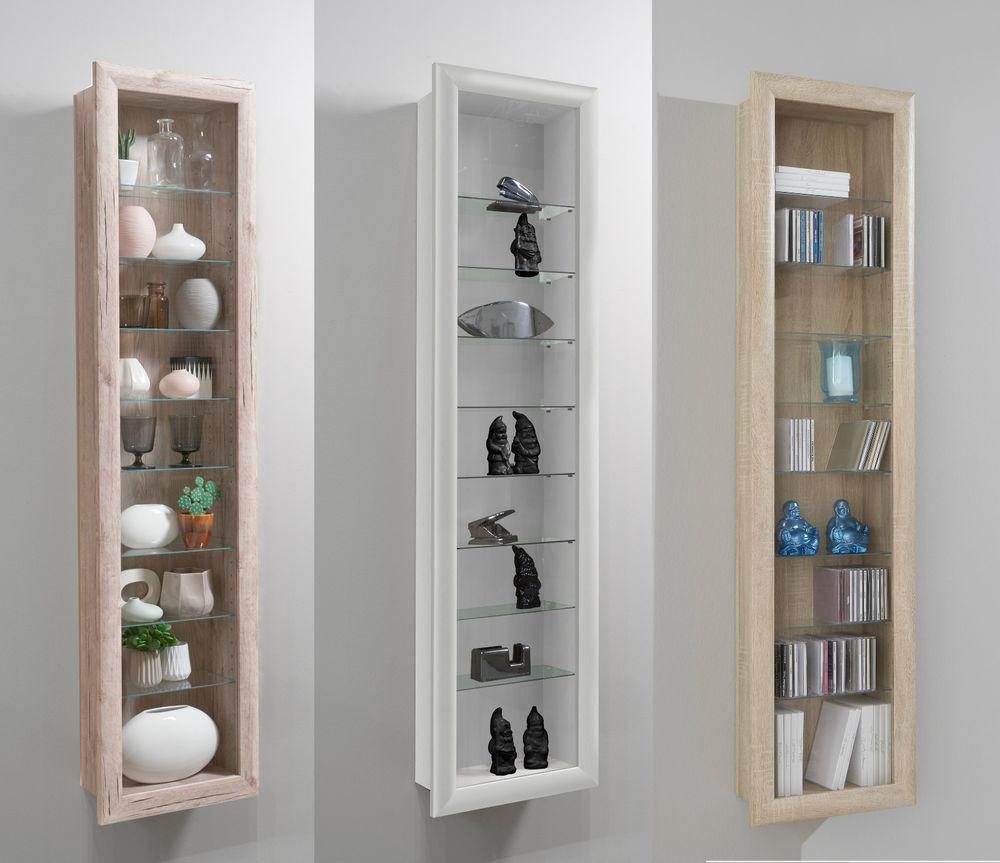 Bora Wall Mounted Glass Wood Display Cabinet Shelving