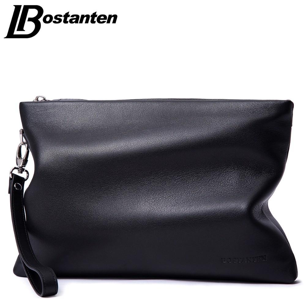 Bostanten Brand Soft Cow Genuine Leather Men Clutch Bags