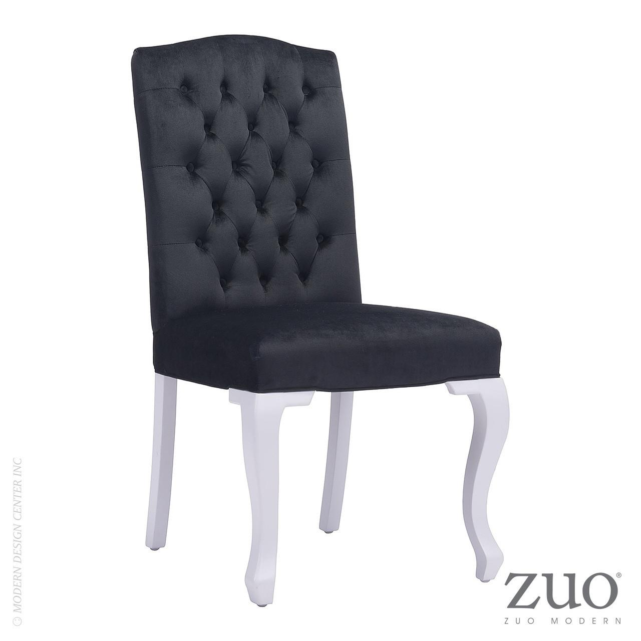 Bourbon Dining Chair Black Velvet Zuo Mod
