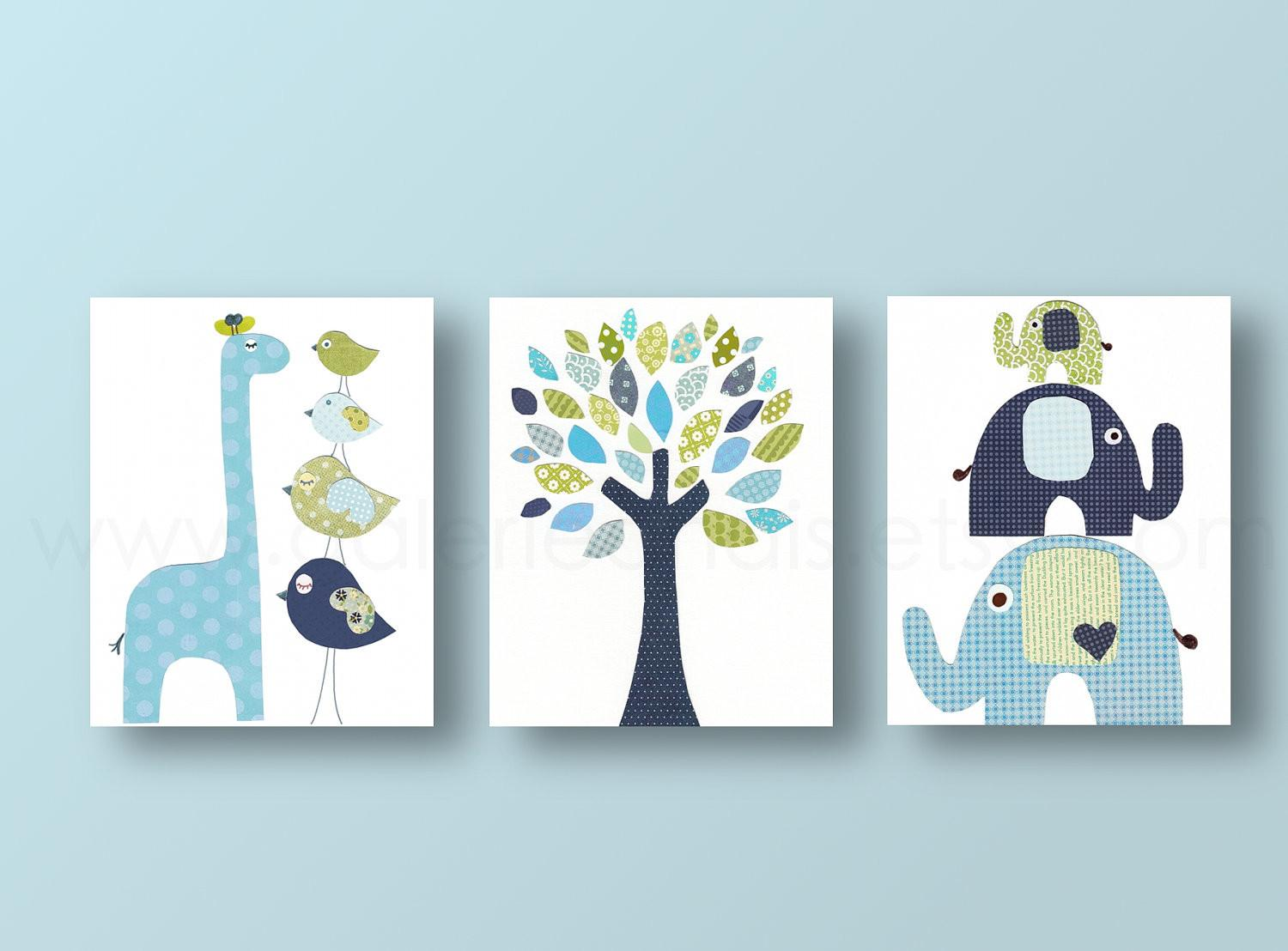 Boys Nursery Art Prints Baby Decor Bird