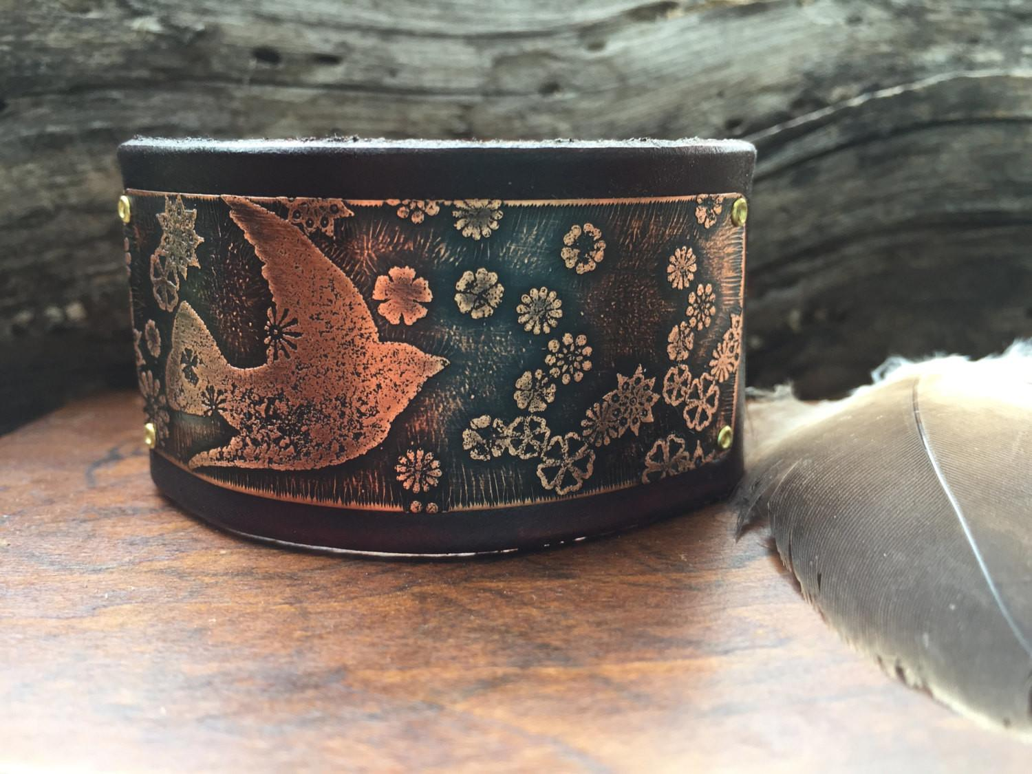 Bracelet Etched Copper Leather Cuff Bird Thedirtroaddaisy
