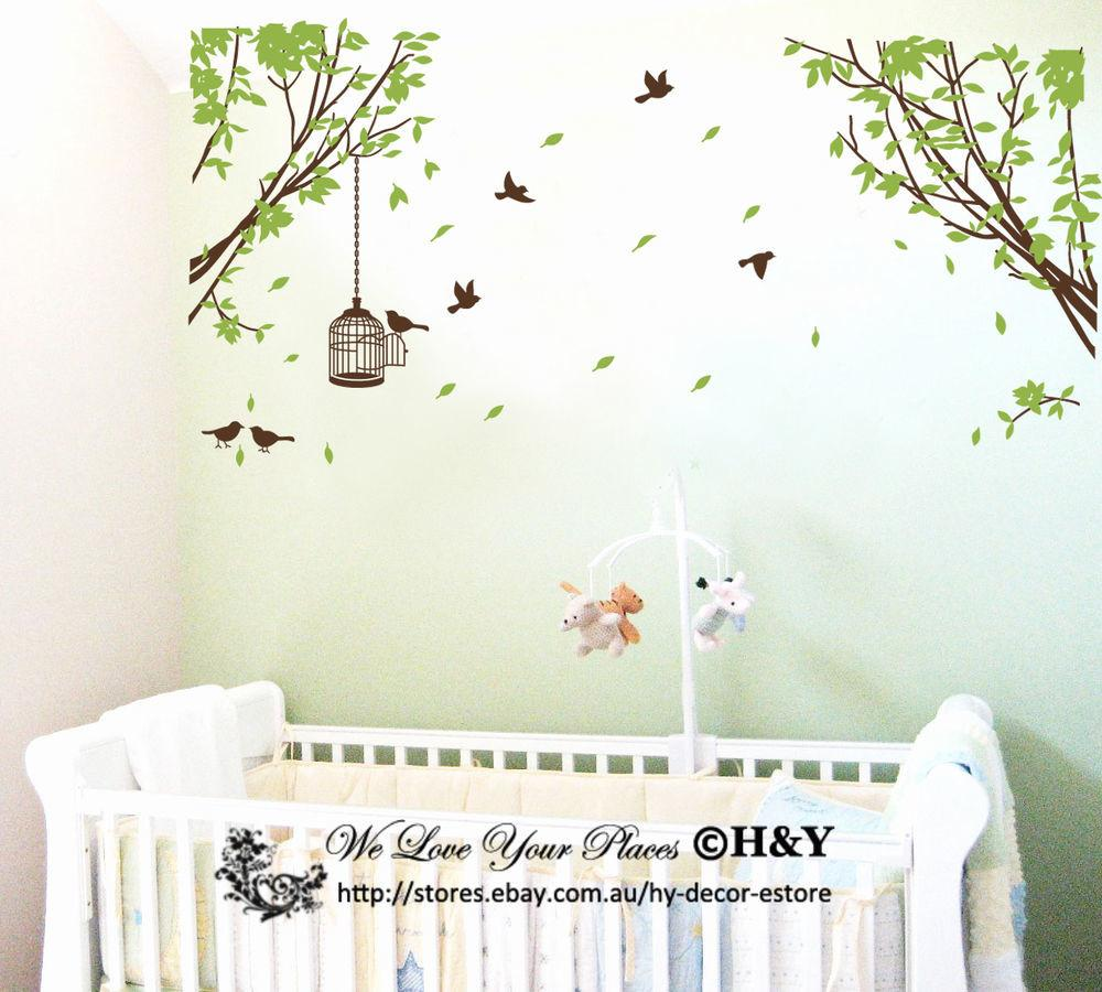 Branch Tree Birds Cage Removable Wall Stickers Art Decals