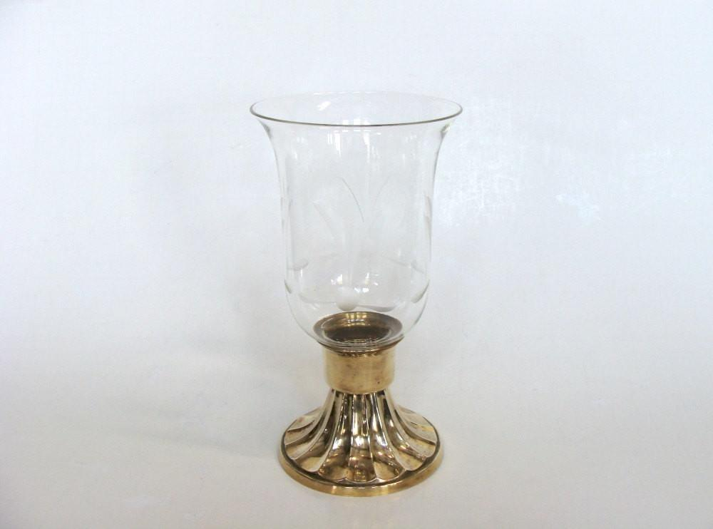 Brass Candle Holder Etched Glass Hurricane