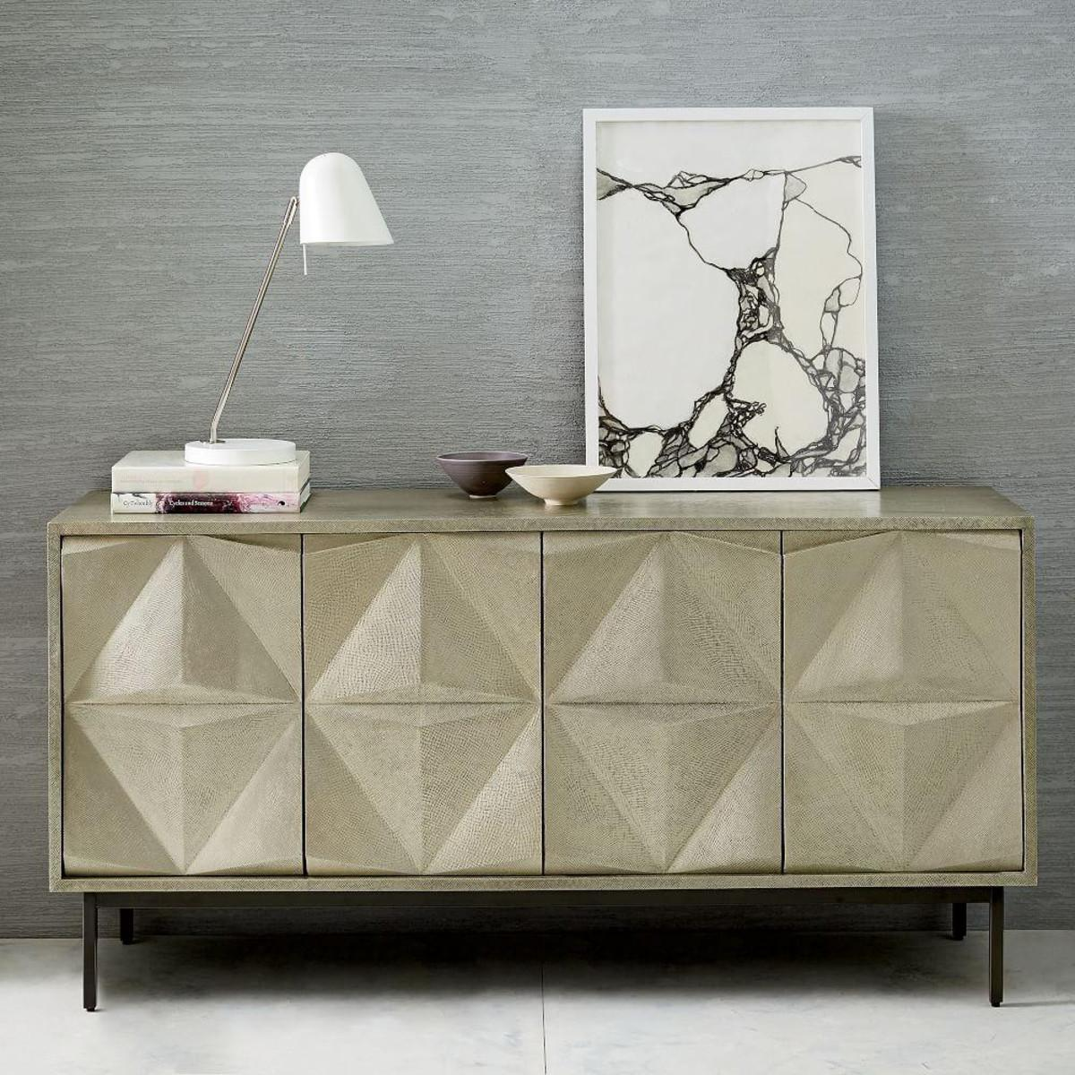 Brass Clad Sculpted Geo Sideboard