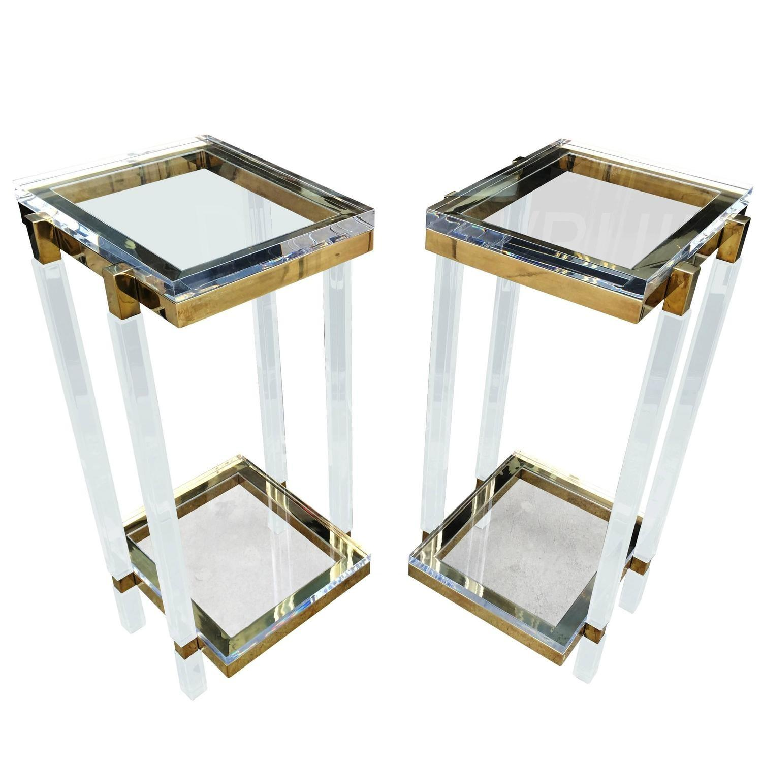 Brass Lucite Side Tables Pedestals Charles