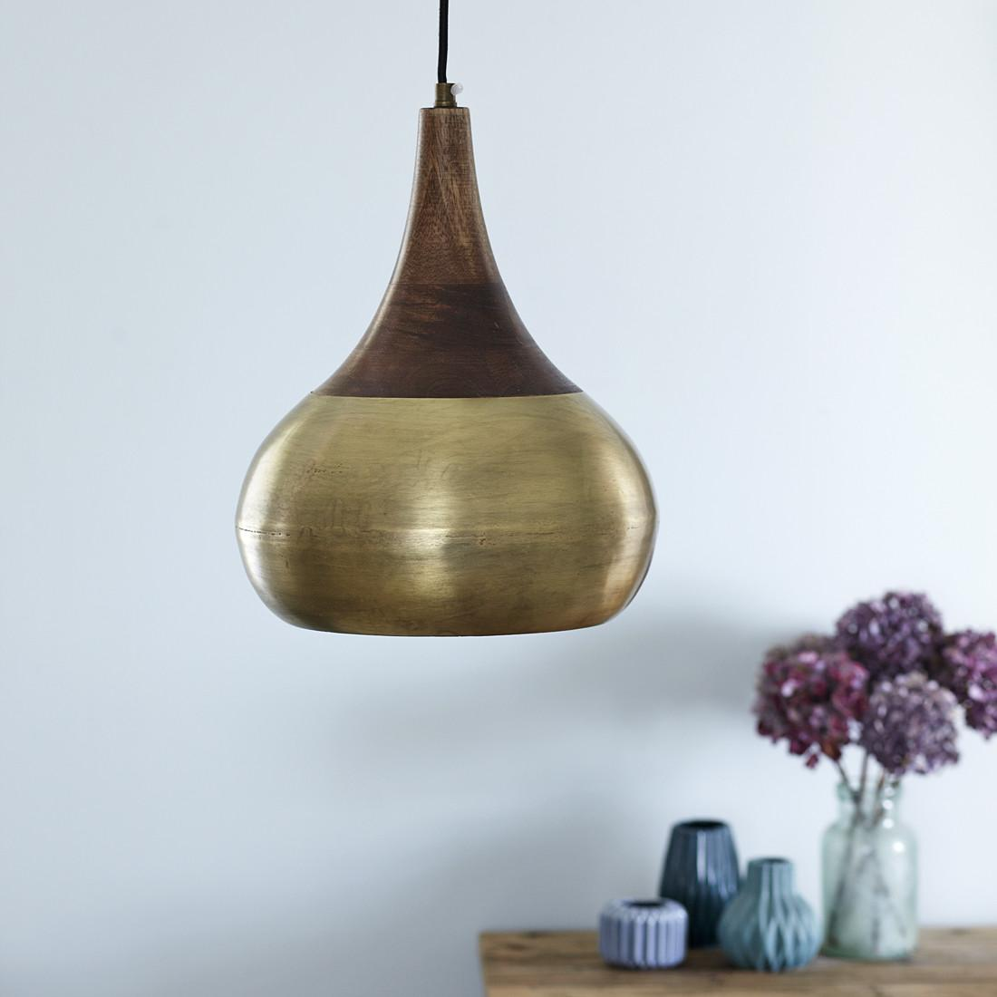 Brass Natural Wood Pendant Light Two Sizes Primrose