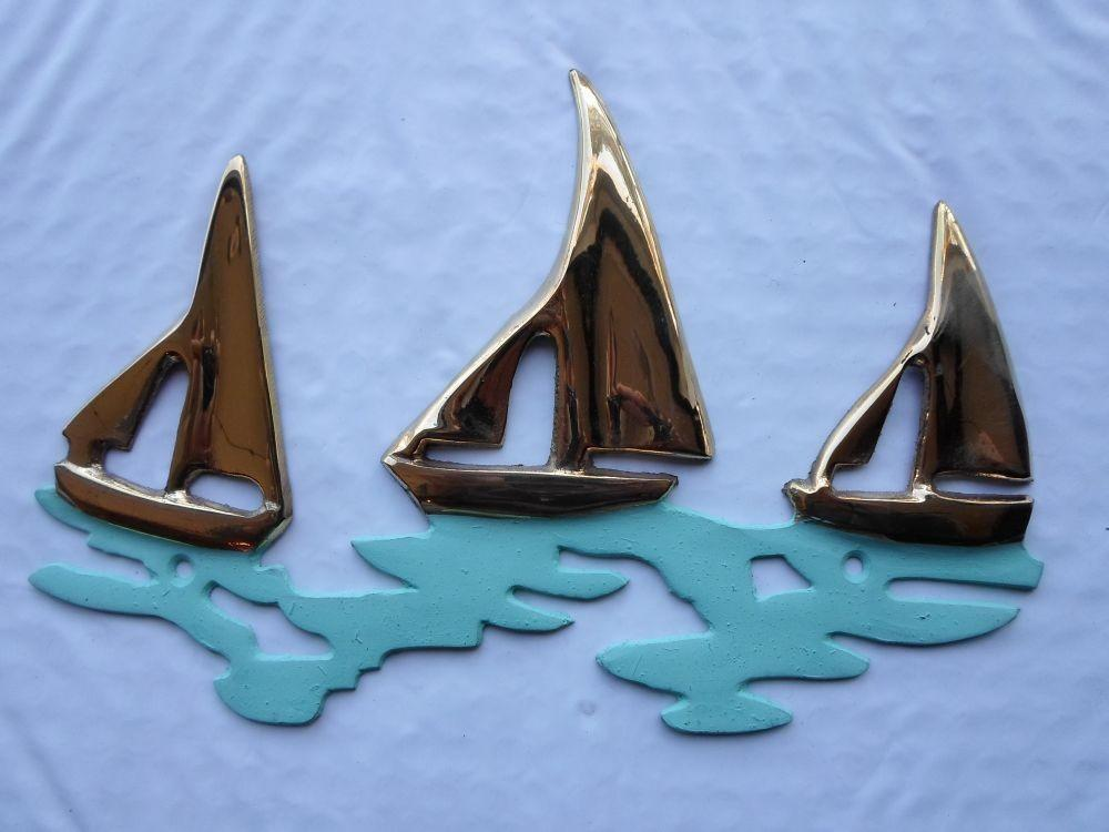 Brass Sailboat Plaque Nautical Wall Decor Sail Boat