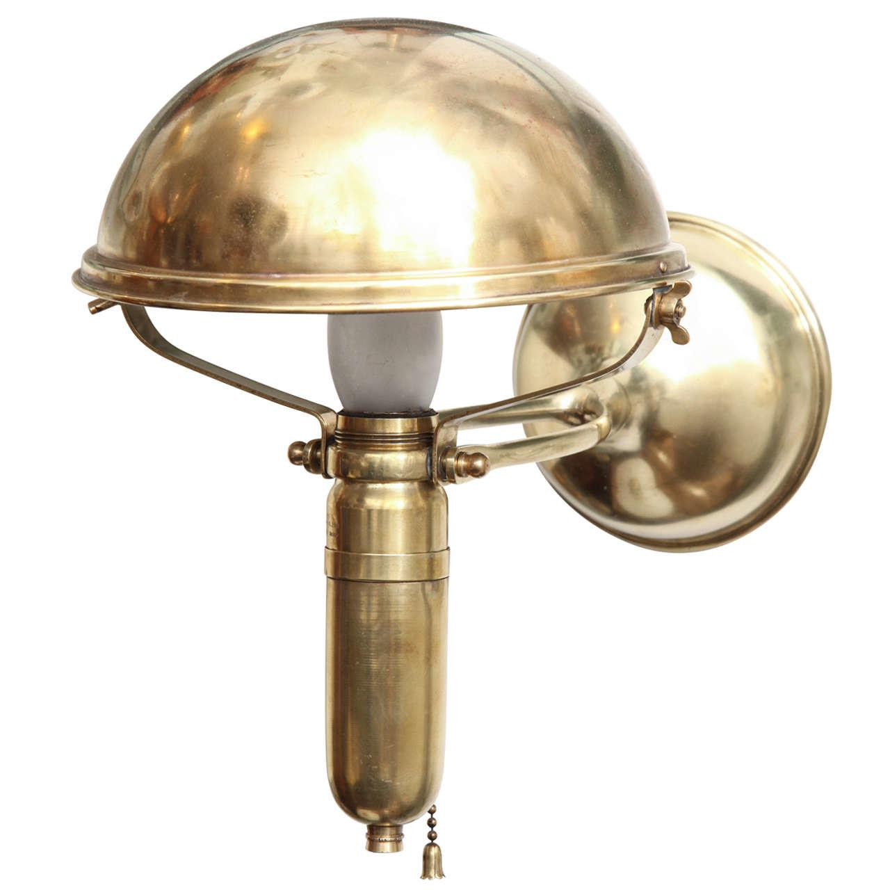 Brass Ships Wall Fixture Table Lamp Signed Weber 1909