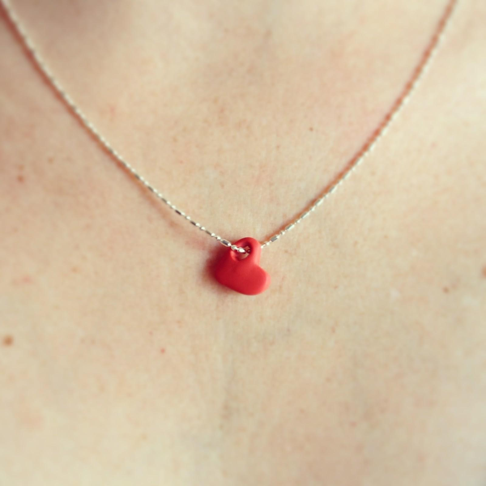 Brave Keep Going Make Clay Heart Necklace