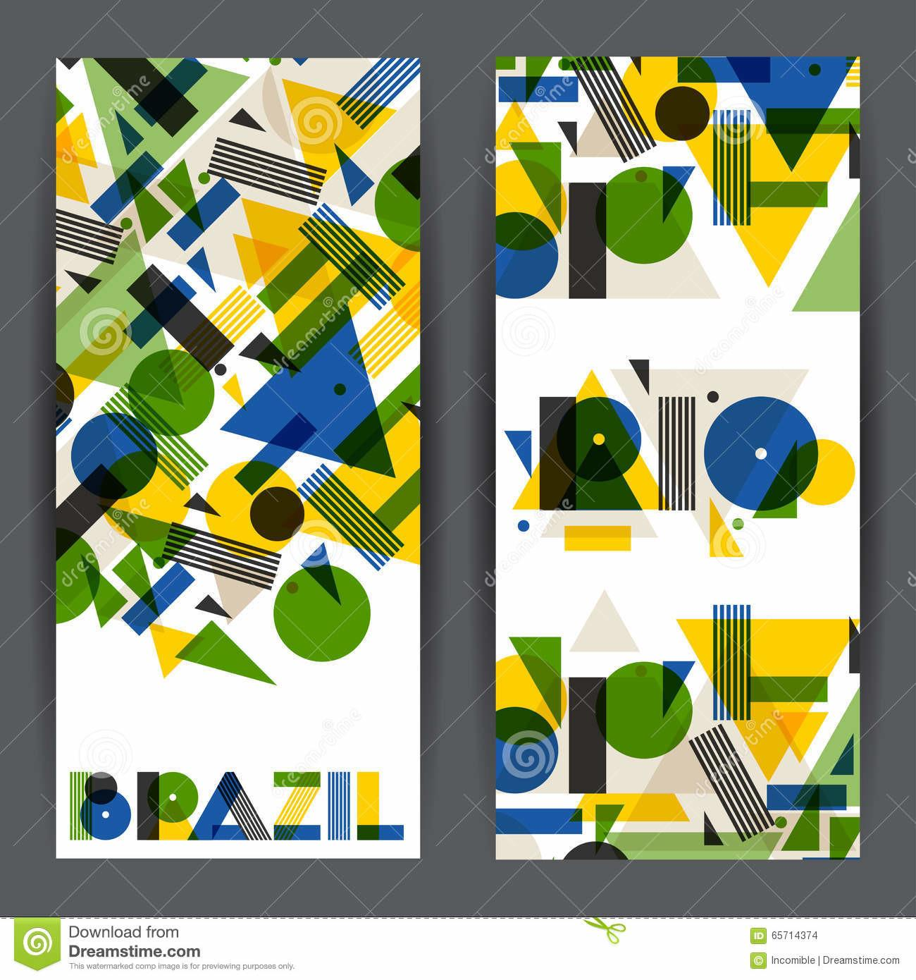 Brazil Rio Banners Abstract Geometric Style Design