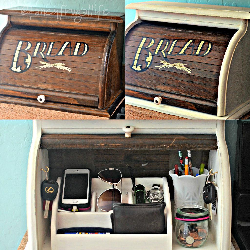 Breadbox Makeover Phone Charger Kitchen Clutter