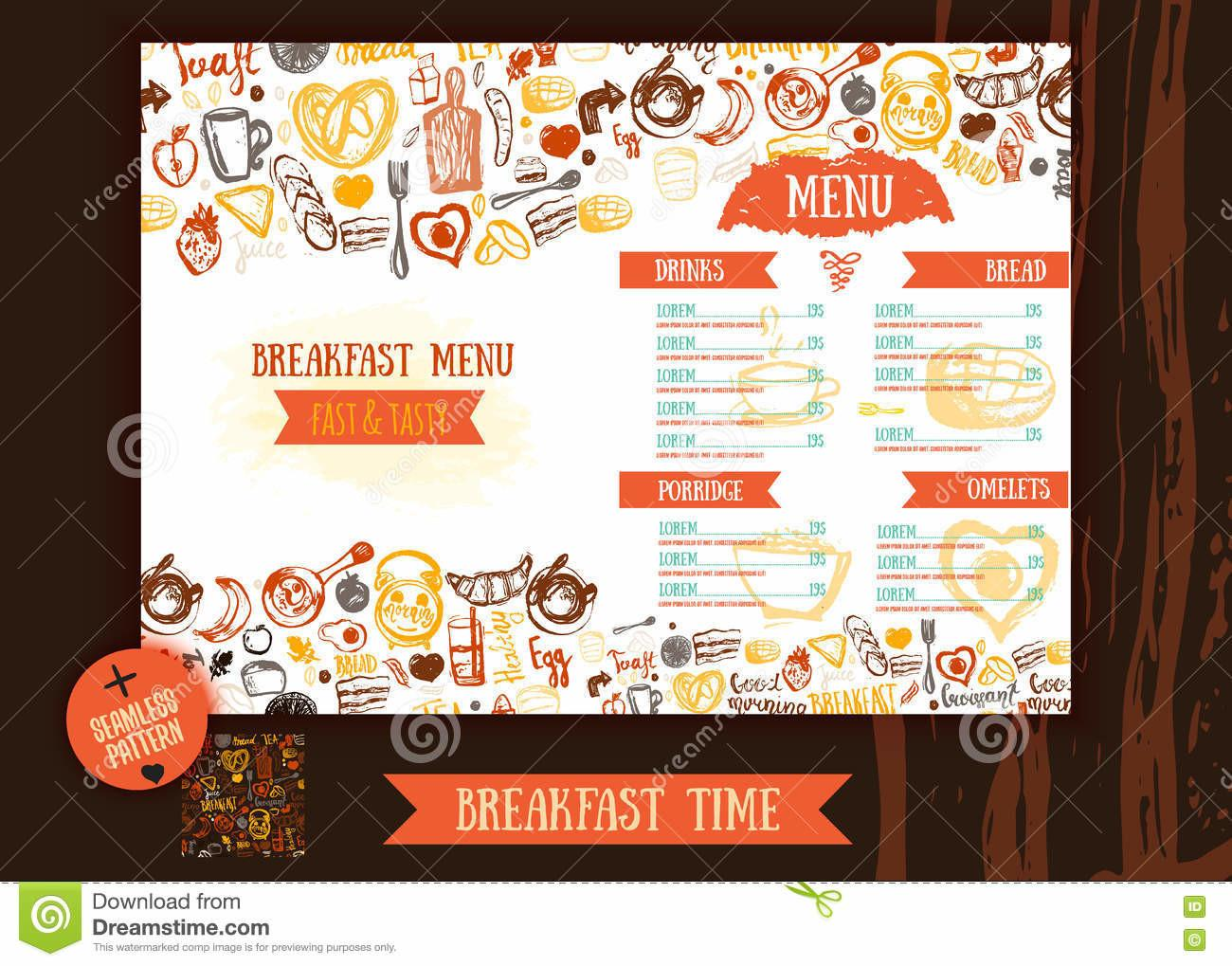 Breakfast Menu Design Template Modern Hand Drawn Sketch