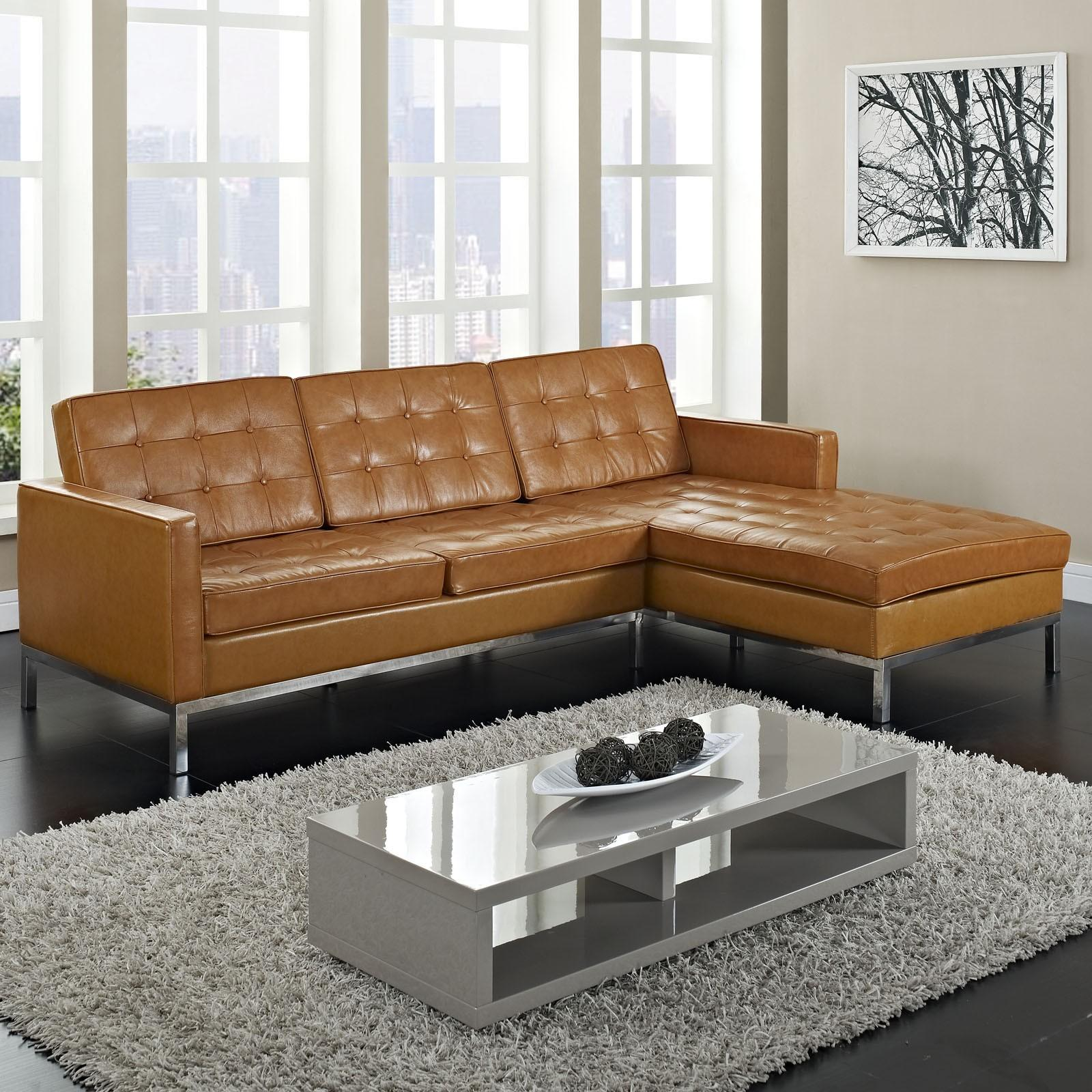 Breathtaking Tan Leather Tufted Sectional Chaise